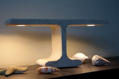 Concrete Lamp Extrude Table Lamp by gooeybrand on Etsy Concrete Light, Concrete Lamp, Concrete Design, Cement Work, Led, Desk Lamp, Table Lamp, Small Cafe Design, Concrete Crafts