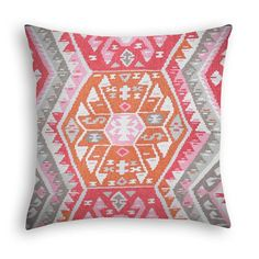 Kilim pillow cover in coral orange pink taupe grey by DcoraPillows