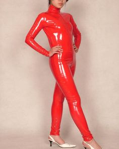 Pink PVC Bodysuit Zentai Suit Wet Look Leotard Latex Jumpsuit Leather Costumes | eBay