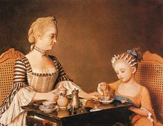 """""""Madame Liotard and her daughter' Jean-Etienne Liotard """"    Note: what are the white things in the girls hair, love the blue ribbon hold what looks like a ponytail on the child, love the tucker in the woman's gown"""