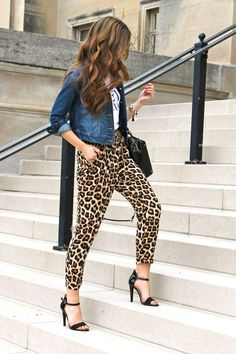 leopard pants, pairs shirt, and denim jacket Leopard Pants Outfit, Leopard Print Outfits, Leopard Print Pants, Animal Print Outfits, Leopard Fashion, Animal Print Fashion, Fashion Prints, Animal Print Style, Animal Print Clothes