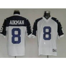 b29be5239 Cowboys  8 Troy Aikman White Thanksgiving Stitched Throwback NFL Jersey
