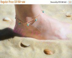 ON SALE, Gold Anklet, Turquoise Anklet, Gold Filled or Sterling Silver, Minimal…