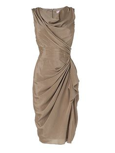 This gorgeous ruched dress would have a slimming effect and complement any chest size. Also, being cinched and gathered to the side of the waistline draws attention away if you're having a 'poochy tummy' day. And it happens to be very classy as well :)
