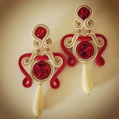 Earrings soutache red cristal by mariella di miceli