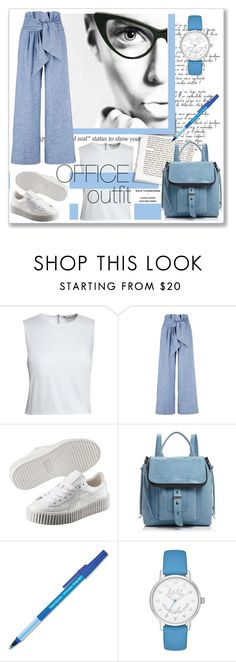 """Office outfit"" by annatiblog ❤ liked on Polyvore featuring Canvas by Lands' End, MSGM, Puma, Botkier, Paper Mate and Kate Spade"