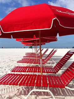 red on the beach . umbrellas over beach recliners