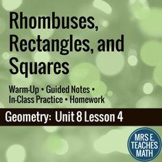 Rhombi, Rectangles, and Squares Lesson by Mrs E Teaches Math | Teachers Pay Teachers