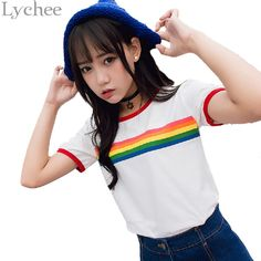 Lychee Harajuku Summer Women Crop Top Rainbow Stripe Graphic Print Short Sleeve T Shirt Tee Top #Affiliate