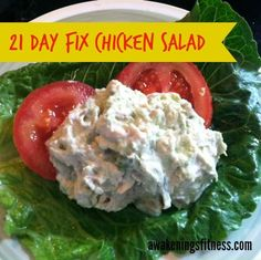 Quick and easy, this chicken salad recipe is 21 Day Fix approved, with lots of options to spice it up or leave plain. Yeilds one red, one blue, one green.
