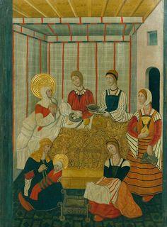 Illumanu15th century (ca. 1475), Spanish  Barcelona, Museu Nacional d'Art de Catalunya  Birth of the Virgin by Workshop of Pedro García de Benabarre