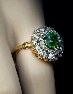 Russian Demantoid Garnet and Diamond ring