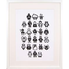 Scandinavian style monochrome Robot alphabet baby nursery and toddler room art print by British illustrator Feena Brooks from Little Ink