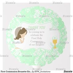 Shop First Communion Brunette Girl Green Damask Balloon created by KPW_Invitations. Helium Gas, Photo Balloons, First Communion Invitations, Balloon Shapes, Custom Balloons, First Holy Communion, Brunette Girl, Invitation Design, Damask