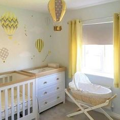 Enchanted Interiors Premium Self Adhesive Fabric Nursery Wall Art Decals Featuring the Deluxe Hot Air Balloons and Kites in yellow, grey and white