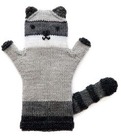 """Free Knitting Pattern for Raccoon Puppet - The body of this hand puppet is knit in the round. Approx 8""""/20.5cm. Designed by Pat Olski and excerpted by Craft Foxes from60 Quick Knitted Toys."""