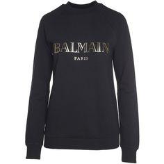 Balmain Logo-Print Cotton-Jersey Sweatshirt (£335) ❤ liked on Polyvore featuring tops, hoodies, sweatshirts, nero, balmain sweatshirt, round neck sweatshirt, long sleeve tops, balmain top and balmain