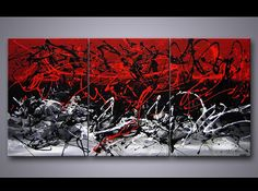 Abstract painting - modern painting red black white #3718