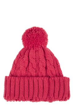 Top off your look with this chunky cable knit beanie hat