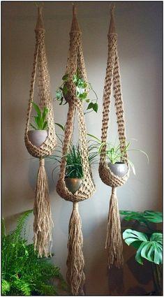 Double venus macramé plant hangers choose one or sets retro bohemian duo matching or order any one large long jute boho hippie Macrame Art, Macrame Design, Macrame Projects, Macrame Knots, Micro Macrame, Macrame Mirror, Crochet Dreamcatcher, Macrame Curtain, Crochet Projects