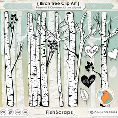 Birch Tree Clip Art - Tree ClipArt  - Branch Silhouttes - Nature - Forest - Woodland - PNG Images + Photoshop Brushes
