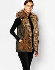 River Island | River Island Parka Vest With Faux Fur Collar at ASOS