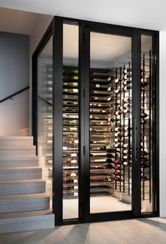 Miami Beach Villa - Contemporary - Wine Cellar - Miami - by Associated Design Co Glass Wine Cellar, Home Wine Cellars, Wine Cellar Design, Wine Cellar Modern, Dream Home Design, Home Interior Design, House Design, Under Stairs Wine Cellar, Wine Cellar Basement