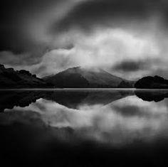 Lake, mountains, reflection, clouds