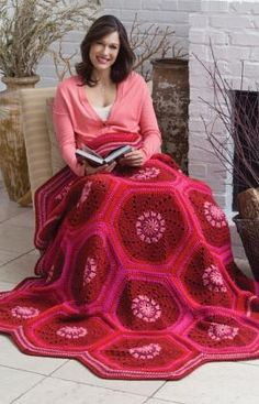 Named the Ruby Hexagon Throw,  but I'm thinking of some different colors so many have to rename it.  ;)  This is a FREE Red Heart pattern.