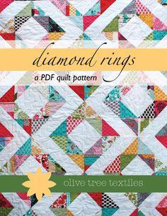 Quilt Muster PDF / / Diamant-Ringe von olivetreepatterns auf Etsy