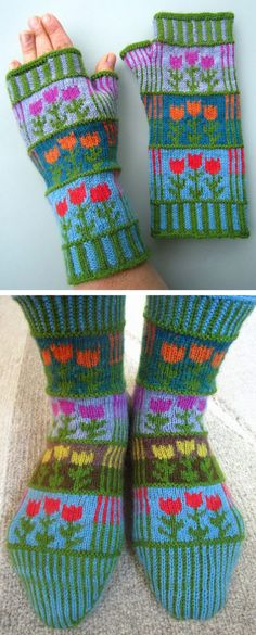 Free Knitting Patterns for Stripes and Tulips Mitts or Socks - Colorful fingerless mitts or socks knit in fingering weight yarn. Socks in 2 lengths and 3 sizes. Perfect for stash or scrap yarn. Designed by Dela Hausmann. Available in German and English