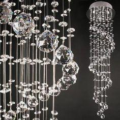 Droplet Cascading Crystal Ceiling Light Fixture Fitting Lighting Lamp Hangs 3ft | eBay
