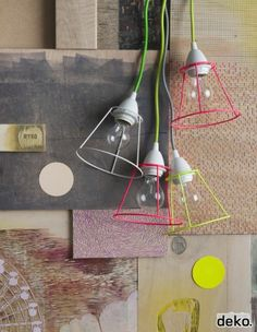Jolie idée déco : un coup de spray fluo sur des cadres d'abat-jours pour créer des lampes design et uniques DIY: GIVE YOUR LIGHTSHADES A MAKEOVER