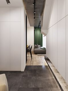 Interior design of 2 floor apartments locates in Kyiv, made in minimalistic style with loft elements using natural materials Loft Design, Deco Design, Modern Design, House Design, Woman Bedroom, Living Room Bedroom, Bedroom Modern, Cozy Nook, Modern Architecture House