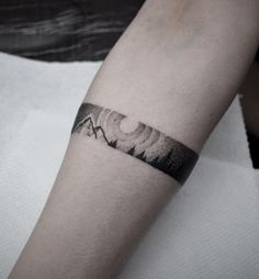 Mountains & Sun Band  http://tattooideas247.com/mountains-band/