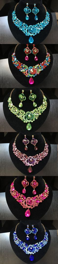 2017 New Fashion Trendy nigerian Wedding African Beads Jewelry Sets Crystal Necklace Set Party Wedding Bridal Jewelry Sets CW-4