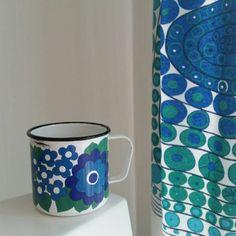 Vintage Finel Arabia blue green Enamel mug. by scandinavianseance