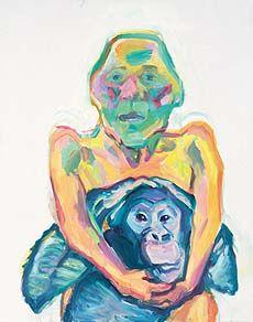Maria Lassnig, Selbstportrait mit Schimpanse