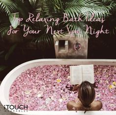 """If you are looking to kick it up a notch in the bathtub, here are a little more """"extra"""" relaxing bath ideas that are perfect for your next spa night: Click here to find out more! Spa Night, Relaxing Bath, Bath Ideas, Be Perfect, Bathing, How To Find Out, Wellness, Exercise, Fitness"""