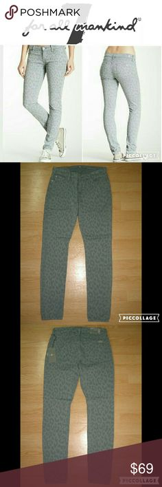 "7 For All Mankind Gwenevere Cheetah Skinny Jeans These jeans are brand new. They are the Gwenevere Super Skinny Jean in Lasered Cheetah Grey. Personally I think the color is like a greenish gray rather than a full gray. Made of 98% cotton 2% spandex. Tag size is 27.  Waist across with natural dip is 14.25"" Waist across when aligned is 14.75"" Front Rise is 8"" Inseam is 30.5"" 7 For All Mankind Jeans Skinny"