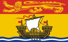 New Brunswick, Canada Flag.  The flag of New Brunswick was officially adopted and hoisted on July 16, 1966.             The yellow field is dominated by a galley ship representing local shipbuilding. It sails on wavy blue and white lines, and display a white sail and three red flags. The golden lion is representative of new Brunswick's ties to Britain