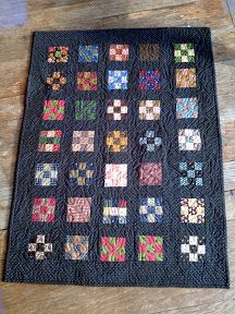 gather up your last thirty-five nine patch blocks. sashing strips wide between blocks and rows. not to complicat. Small Quilts, Mini Quilts, Quilting Frames, Quilting Ideas, Nine Patch Quilt, Miniature Quilts, Doll Quilt, Quilt Stitching, Antique Quilts