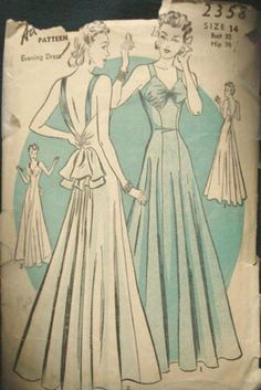 1930s Backless Evening Gown Evening Dress Princess by kinseysue