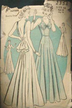 Advance 2358, vers 1939, fait une robe de soirée magnifique, dos nu. Bas V en avant et en arrière. Coutures Princess, shirring à larrière au-dessus de