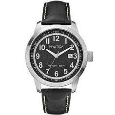 Nautica Classic Men's Watch A13604G Black Round Dial Leather Band Easy to Read