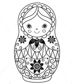 Black and White Matryoshka Royalty Free Vector Image Colouring Pages, Coloring Sheets, Coloring Books, Embroidery Stitches, Embroidery Patterns, Hand Embroidery, Vector Flowers, Matryoshka Doll