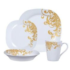 Aristocracy Gold by Gibson Vintage Dishware, Vintage China, Fine China Dinnerware, Christmas Dishes, Dinner Sets, Fine Dining, Afternoon Tea, Cup And Saucer, Decorative Plates