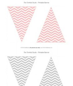 FREE red black gray pink Chevron Pennant Banner - La Tomkat Studio