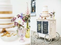 Sugarlips Cakes || Gold & Blush Stripes Wedding Cake
