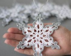 Crochet snowflakes White gold decor by SevisMagicalStitches
